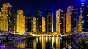 The Night Skyline of the Dubai Marina and Jumeirah Beach Residences