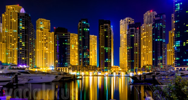 Night time skyline of the Dubai Marina and Jumeriah Beach Residence Towers