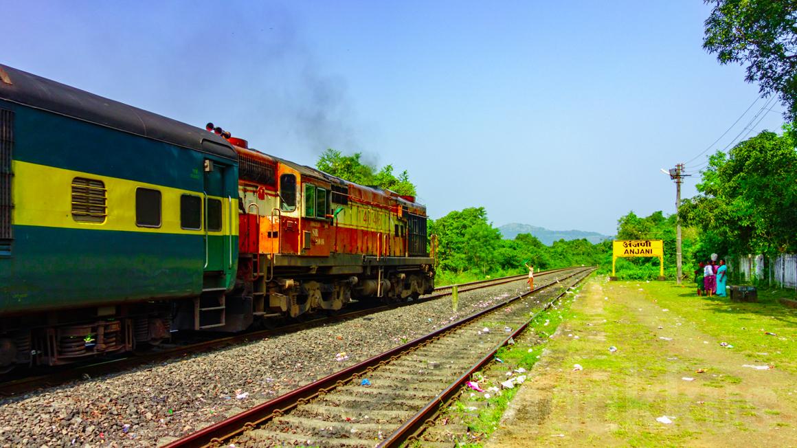 12202 Kochuveli Mumbai Garib Rath Express hauled by ERS WDM3A 14046 at Anjani on the Konkan Railway