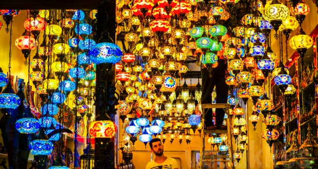 Turkish lanterns on display and slae at Bur Dubai Old Souk