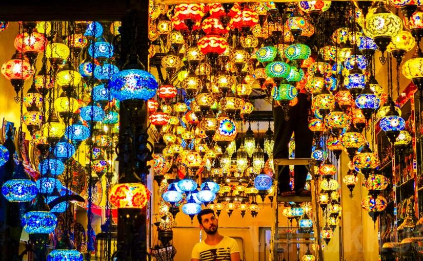 Turkish lanterns on display and slae at Bur Dubai Old Souk
