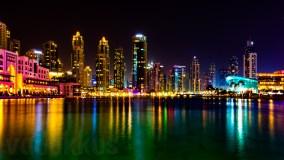 Dubai Downtown's Rainbow Skyline Seen from the Dubai Mall