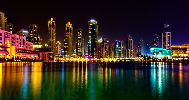 A colorful view of the Dubai Downtown skyline of skyscrapers