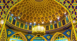 The grand dome of the Persian Court section at the Ibn Battuta Mall in Dubai