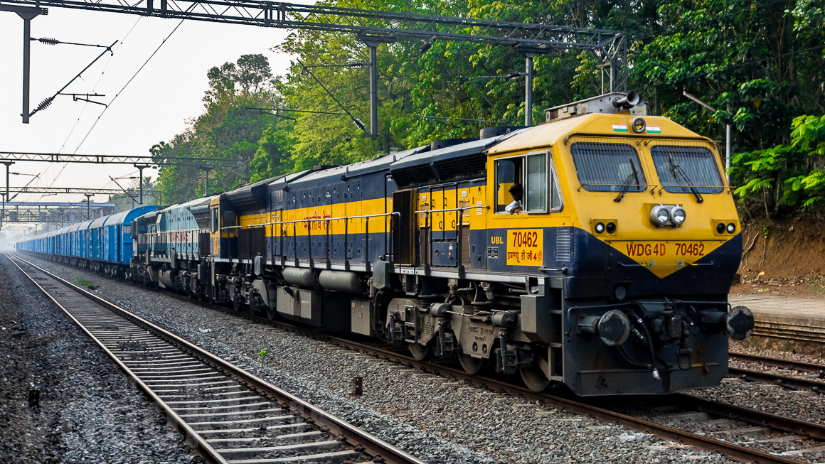 A Freight Train in India Hauled by Twin EMD Diesel Locomotives