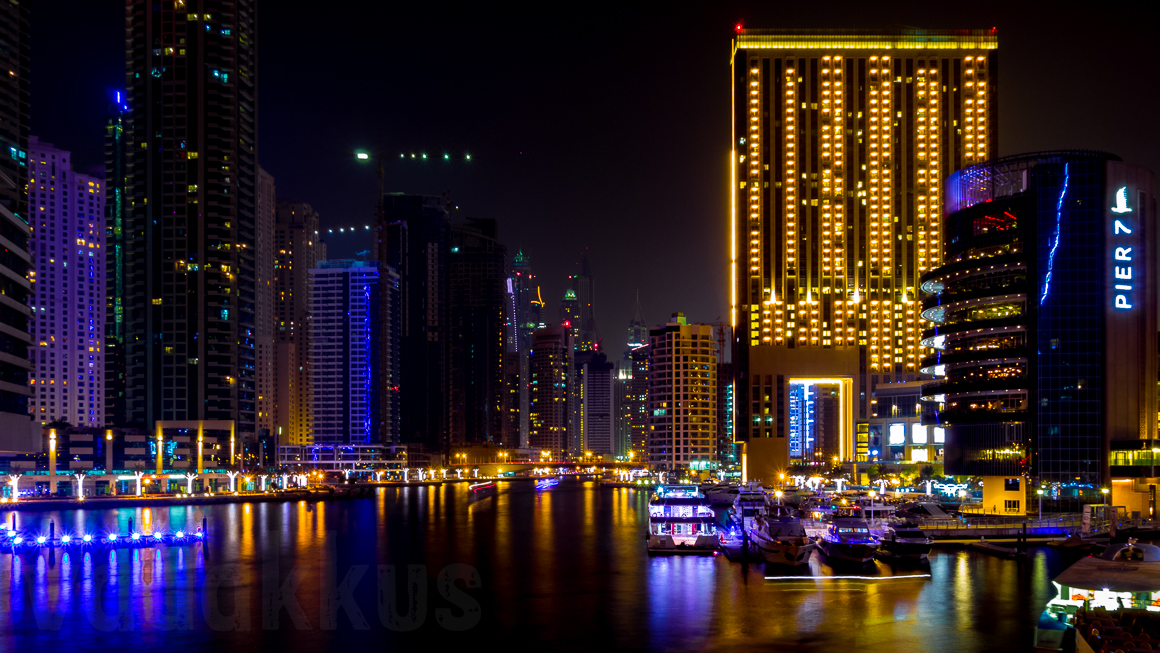 The Dubai Marina at Night from the Al Gharbi Street Bridge