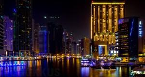 Dubai Marina Night Photo Pier 7 Address Hotel