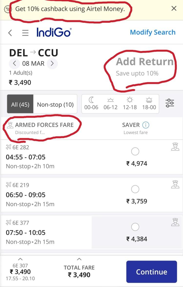 Defence quota flight ticket booking