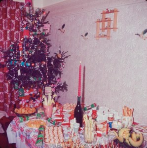 Christmas decorations and food