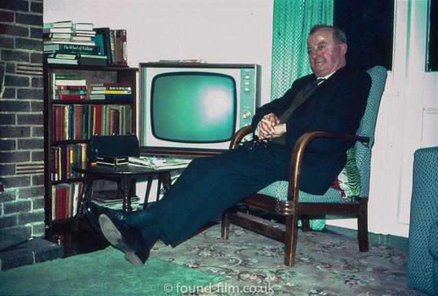 Interior portrait with TV