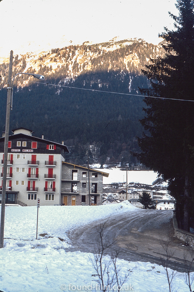 The Hotel Milano in a snowy valley