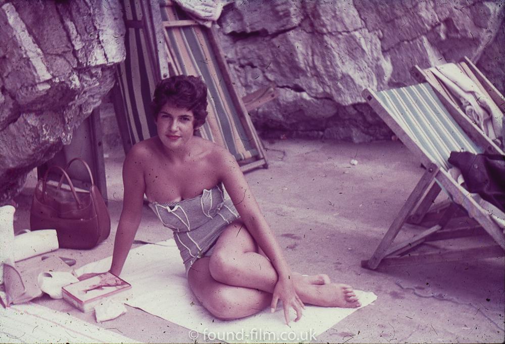 Woman posing in beach
