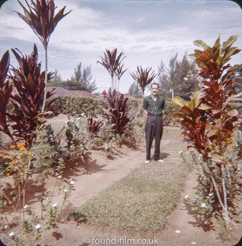 A Man in his garden at the RAF Seletar base in the early 1960s