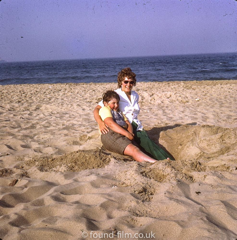 On the beach with Mum