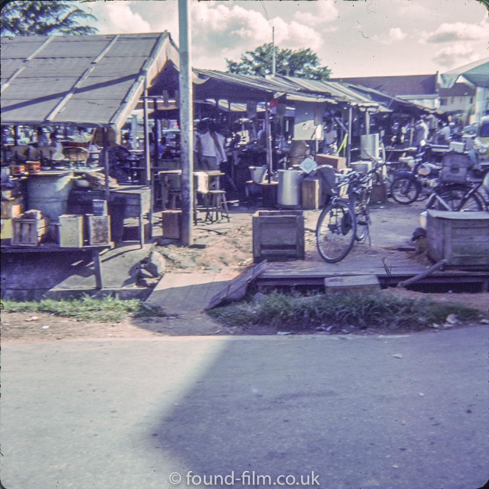 Market in Serangoon Gardens in Singapore in early 1960s
