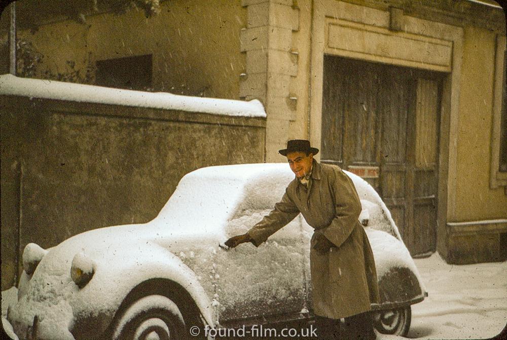 Snow covered car - Jan 1954