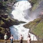 Kjosfossen waterfall in Norway, Oct 1976