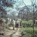 Family walk in the countryside in 1984