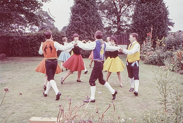 Country dancing on a lawn