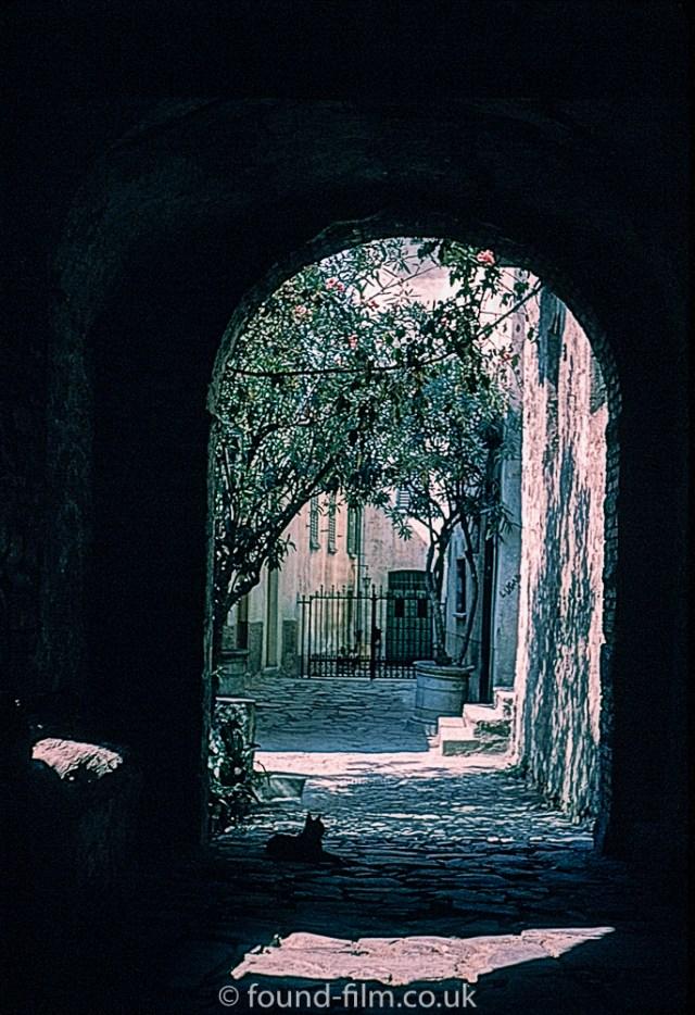 Sunlight through an archway in Switzerland