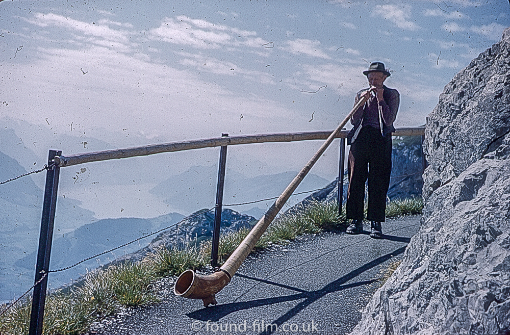 Alpine horn blower on Pilatus in Switzerland 1962
