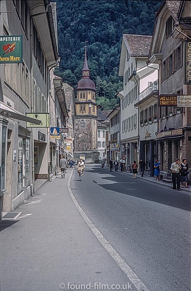 Altdorf Street Scene showing William Tell Monument in 1962