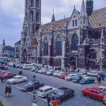 Cars parked by the Matthias church in Budapest, early 1960s