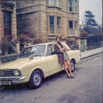 Medium format negatives - Woman with Ford Cortina in the 1970s