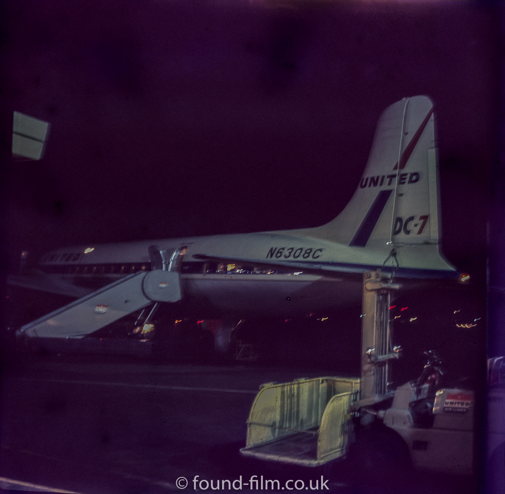 Douglas  DC-7 at night in the late 1950s
