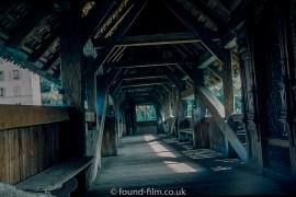 Inside the Kapellbrucke covered bridge in Lucerne
