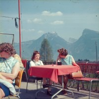 Mum and Daughter in a mountainside cafe