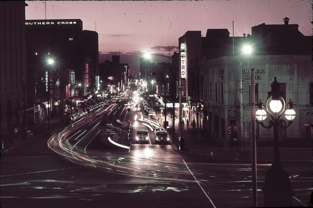 Bourke Street, Melbourne at night