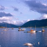 Kodachrome slide of the view over Ullapool bay in August 1967
