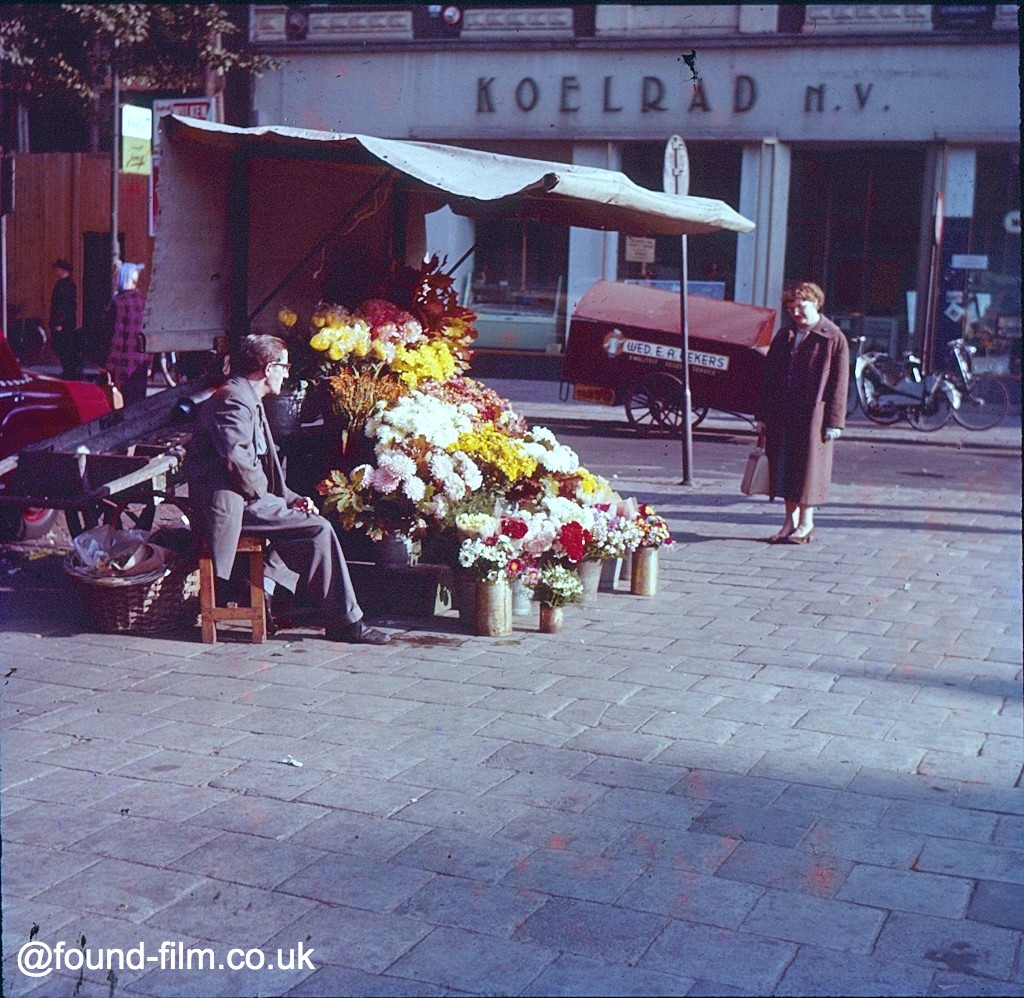 Woman and flower seller