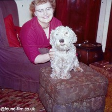 A woman with her pet dog