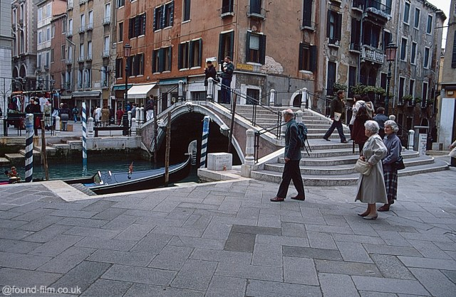 A picture of people crossing the Bridge of Wonders from April 1996