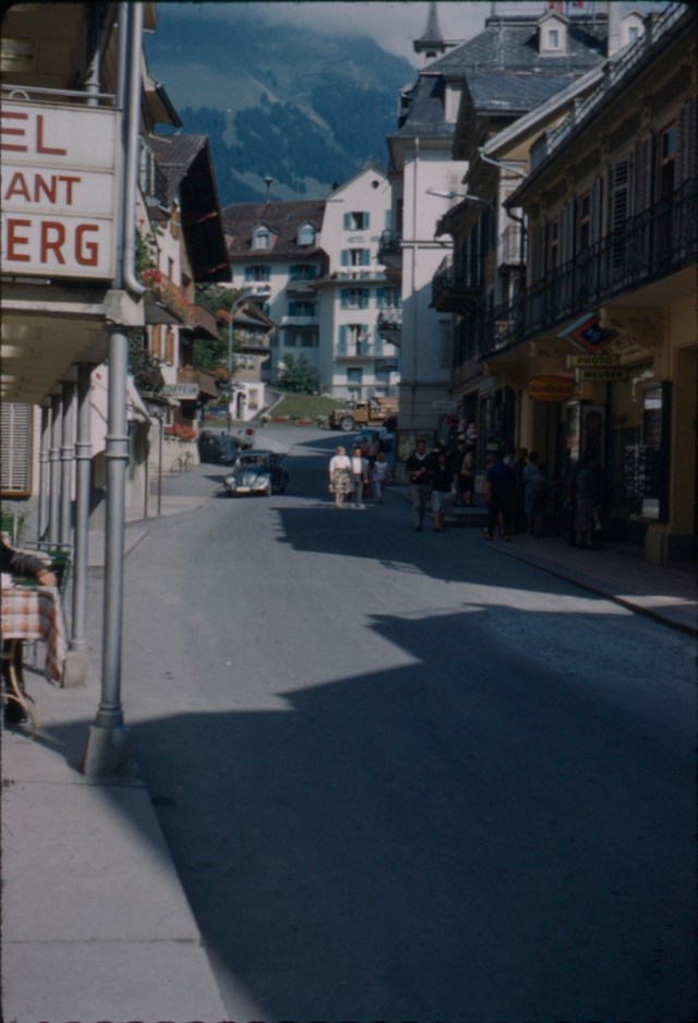 A Kodachrome slide of the mountain village of Engelberg in Switzerland