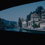 A Kodachrome slide showing the town of Lucerne from the bridge