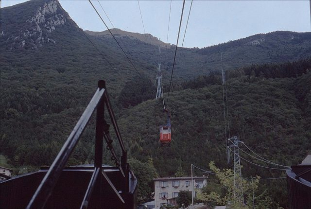A Cable car on its journey to the top