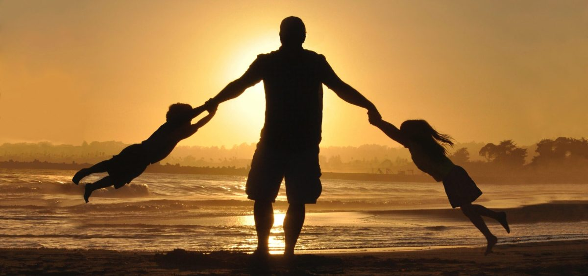 Father with his children in the sunset
