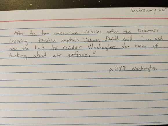 Index card with a note about Washington
