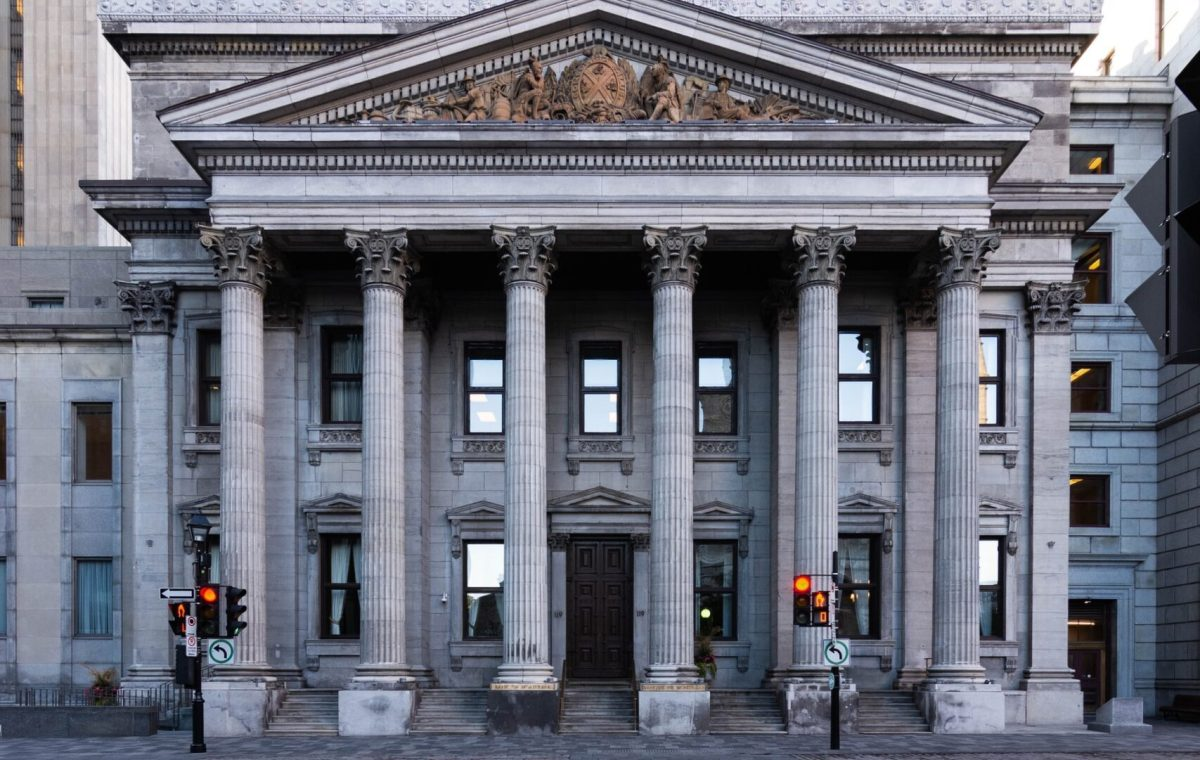 The front of a bank with columns
