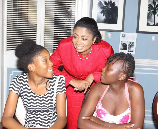 Her Excellency Lady Williams conversing with residents of the Sunshine Home for Girls