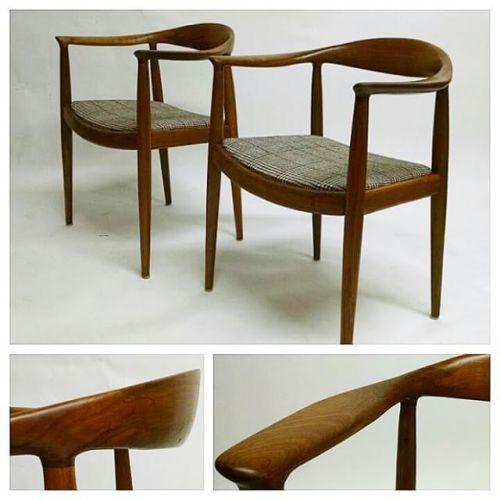 Danish Walnut Round Chairs