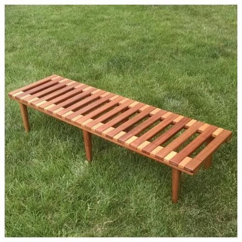 Walnut and Birch Slat Bench