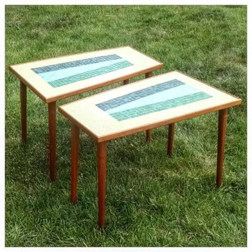 Walnut and Mosaic End Tables