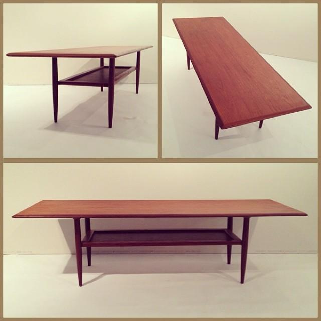FOUNDDESIGN » » Long Teak Coffee Table w/ Leather Shelf