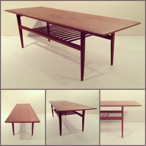 Teak Coffee Table w/ Slat Shelf
