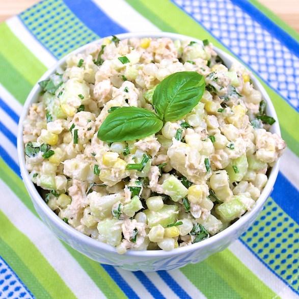 Easy Salmon, Corn & Cucumber Salad