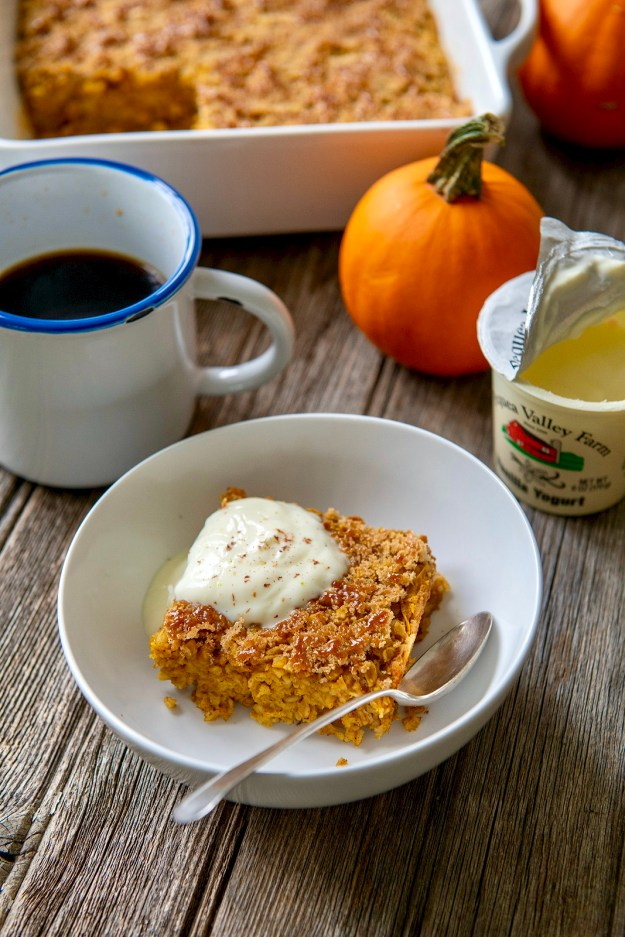 Pumpkin and warm spices join a short list of kitchen staples in this hearty breakfast that may be prepped in advance and enjoyed throughout the week.